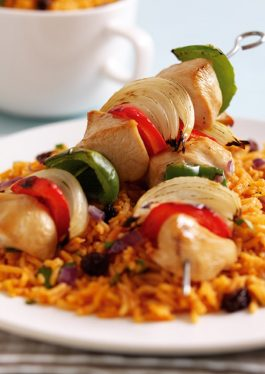 Chicken Kebabs with Rice