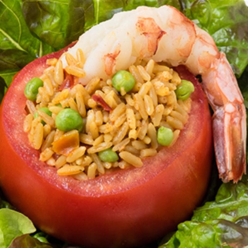 Paella-Salad Stuffed Tomatoes