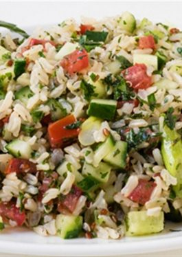 Whole Grain Brown Rice and Quinoa Tabbouleh Salad