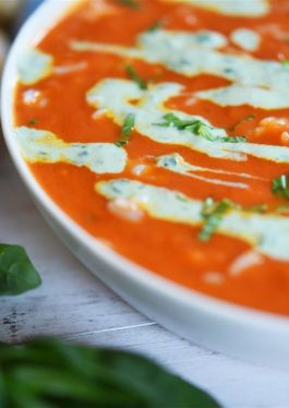 Tomato Soup with Rice + Basil Yogurt Drizzle