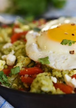 Cilantro Pesto Rice with Feta, Peppers and Egg
