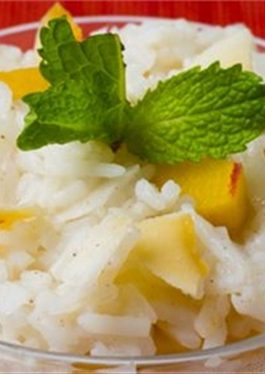 Peachy Coconut Rice Pudding