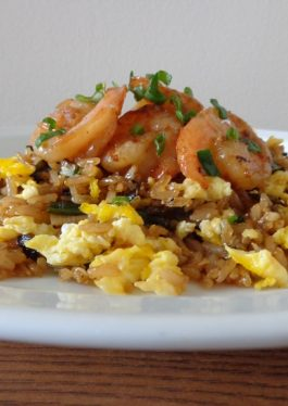 Brown Scallions Fried Rice with Oy-Butter Shrimp