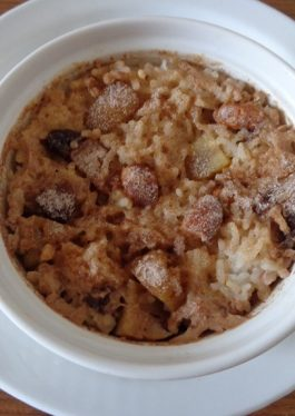 Baked Caramel Chestnuts and Almond Rice Pudding