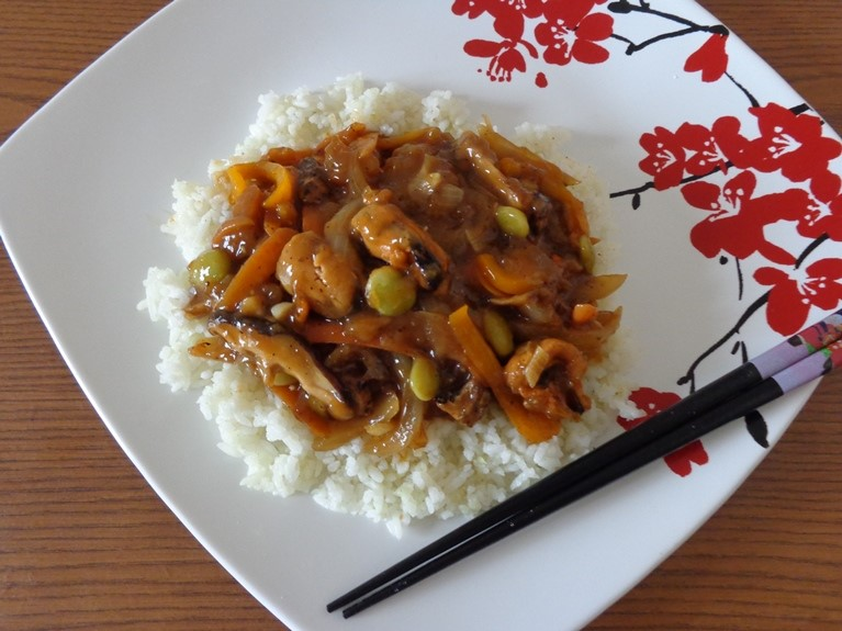 Rice and Seafood Vegetables Asian Gravy