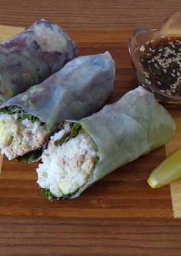 Avocado Tuna Rice Spring Rolls with Poke Sauce