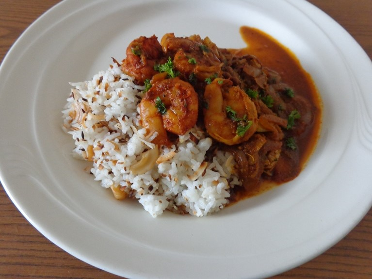 Shrimp Curry with Coconut Cashew Rice