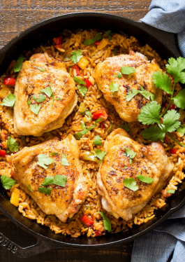 One Skillet Fajita Chicken and Rice