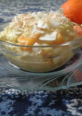 Orange Anglaise Mango Rice Pudding